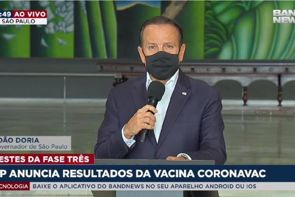 Governo de São Paulo anunciou que Coronavac se mostrou segura após teste