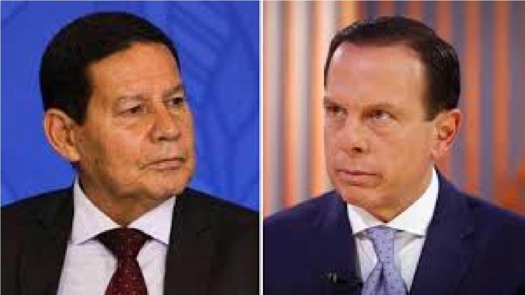 """General Mourão critica atitude de Doria e diz """"Virou garoto-propaganda da vacina e acabou metendo os pés pelas mãos"""""""